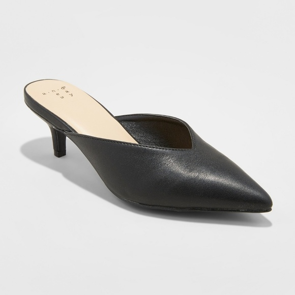 db75d79189977 a new day Shoes | Black Pointed Kitten Heel Mule | Poshmark